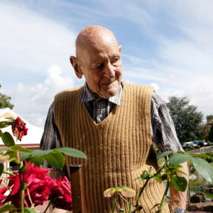 VFH racf man looking at roses in the garden