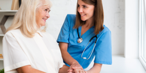 Improve resilience nurse holding woman's hand