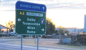 Street Sign directing to business centre and 4 country towns