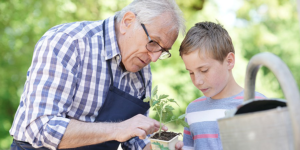 meaningful engagment environments grandfather grandson in garden