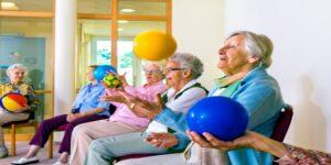 Group of ladies sitting exercise with balls WORDPRESS